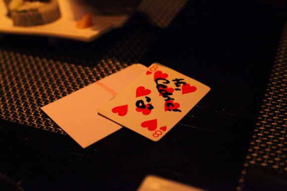 One of the playing cards, touched by ninja magic! (We weren't allowed to film or photograph the magic show, but no one said anything about documenting the evidence afterwards.)