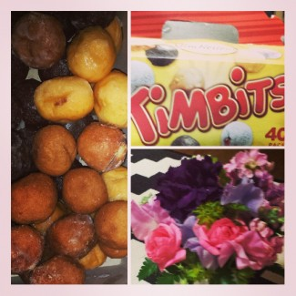 "Nothing says ""I love you"" quite as effectively as a bouquet of flowers and a 20-pack of Timbits."